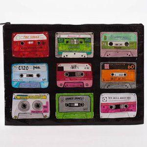 80s MIXED TAPE Cassette Jumbo Zipper Pouch NEW